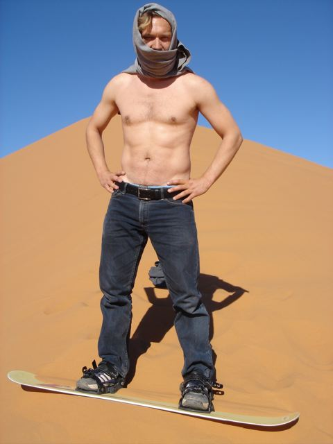 Snowboarding on Sand Dunes. Sahara. Dec 06.